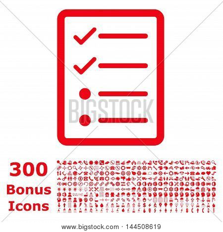 Checklist Page icon with 300 bonus icons. Vector illustration style is flat iconic symbols, red color, white background.