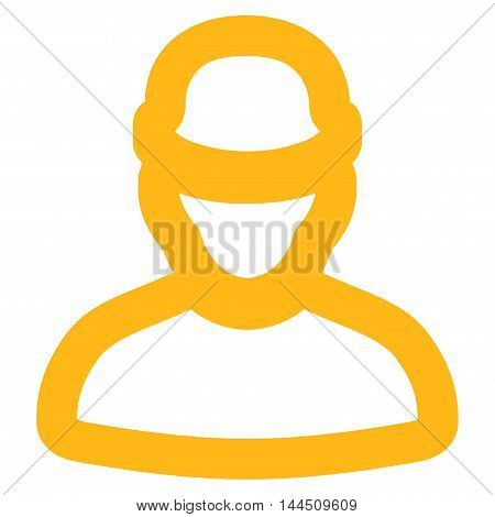 Builder vector icon. Style is contour flat icon symbol, yellow color, white background.