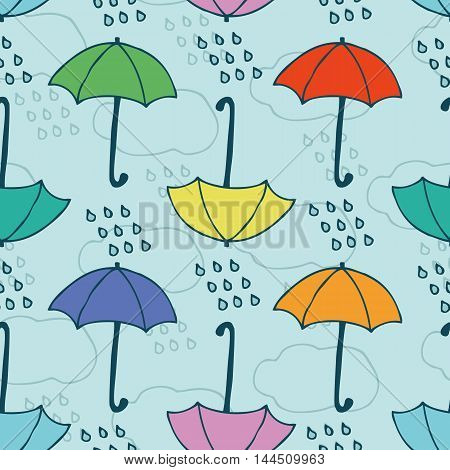 Seamless Vector Pattern with Rain and Umbrellas on a Blue Background