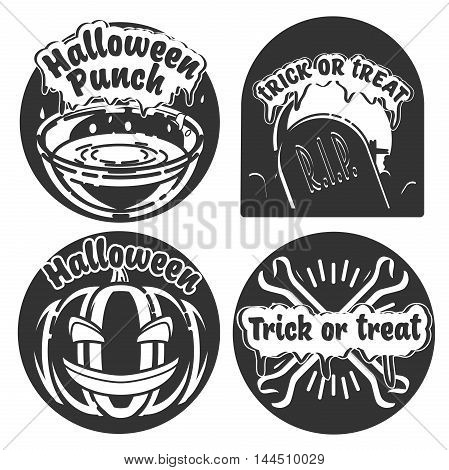 Vintage Typography Halloween Vector Badges Logos or Labels Pumpkin Ghost Scull Bones Bat Spider Web and Witch Hat