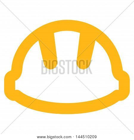 Hardhat vector icon. Style is contour flat icon symbol, yellow color, white background.