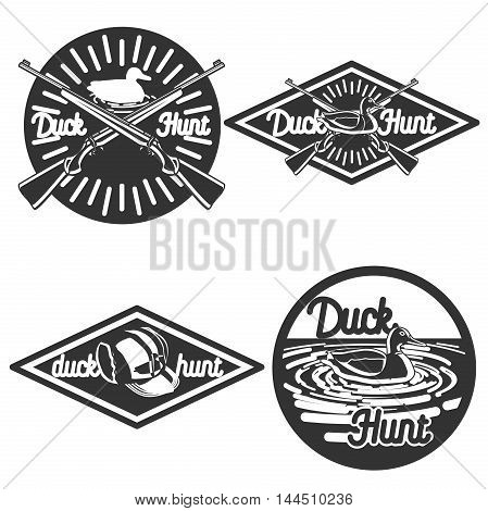 Set of vintage hunting labels and design elements
