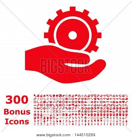 Development Service icon with 300 bonus icons. Vector illustration style is flat iconic symbols, red color, white background.