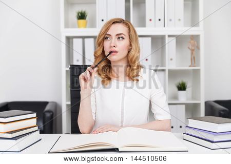 Writer Working At Her New Novel