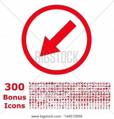 Down-Left Rounded Arrow icon with 300 bonus icons. Vector illustration style is flat iconic symbols, red color, white background.
