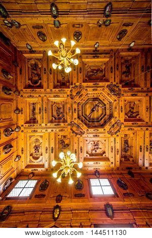 Bologna, Italy - May 23, 2016: The Anatomical Theatre of the Archiginnasio at the University of Bologna in Italy. It was constructed in 16th century for anatomy lectures