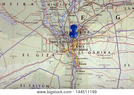 Cairo Egypt With Pushpin Illustrative Editorial