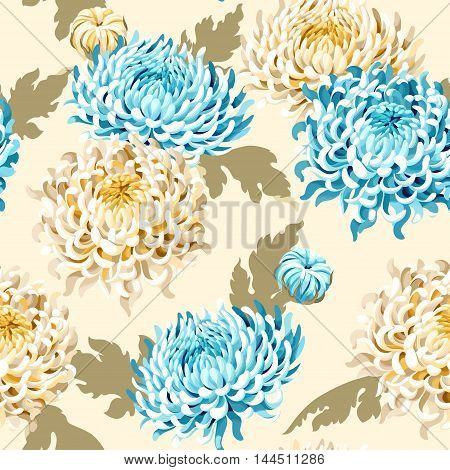 Japanese chrysanthemum flowers and leaves vector seamless background