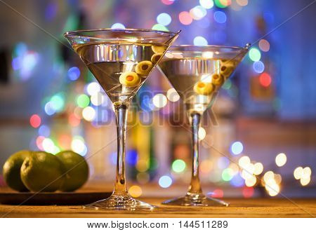 Glasses Of Martini Coctail