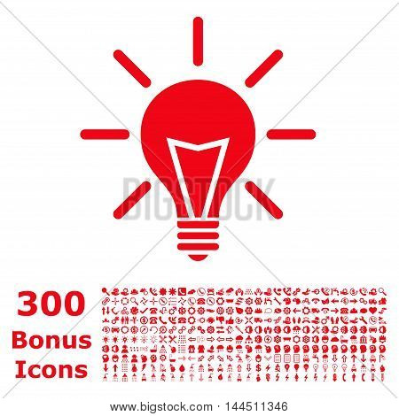 Electric Light icon with 300 bonus icons. Vector illustration style is flat iconic symbols, red color, white background.