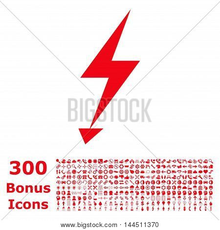 Electric Strike icon with 300 bonus icons. Vector illustration style is flat iconic symbols, red color, white background.