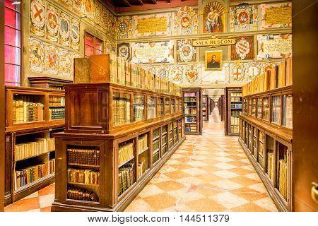 Bologna, Italy - May 23, 2016: Archiginnasio old library in Bologna