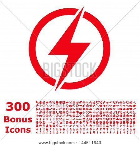Electricity icon with 300 bonus icons. Vector illustration style is flat iconic symbols, red color, white background.