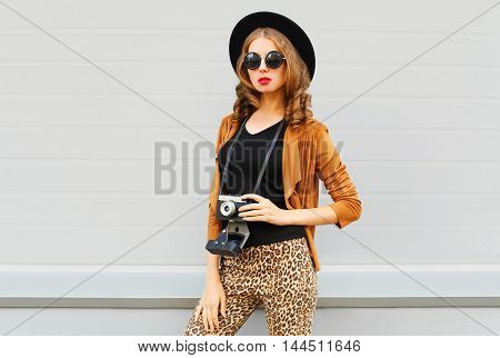 Fashion Look, Pretty Cool Young Woman Model With Retro Film Camera Wearing Elegant Hat, Brown Jacket