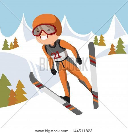 Boy jumping on skis. Vector illustration. Background mountains and forest.