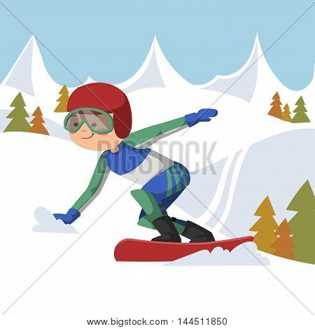 Athlete snowboarding vector illustration. Background mountains and forest.