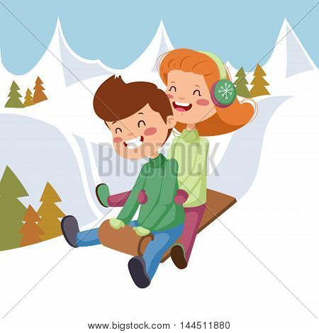 Children on sleds. Girl with a boy on a sled in the mountains.