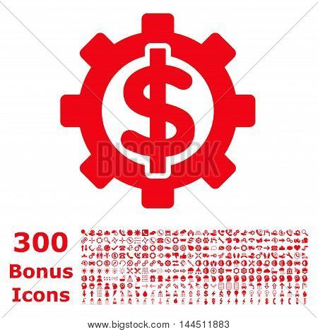 Financial Options icon with 300 bonus icons. Vector illustration style is flat iconic symbols, red color, white background.
