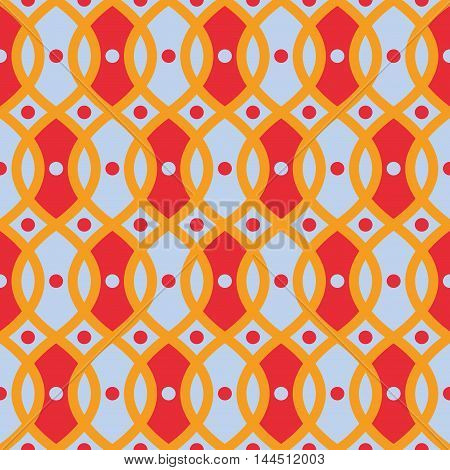 Seamless trellis pattern. Trellis wallpaper. Festive geometric print pops with wavy yellow curved lines and red elements. Seamless vector ornamental background. Great for cover design wrapping paper
