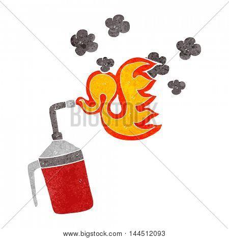 freehand retro cartoon blow torch