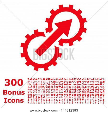 Gear Integration icon with 300 bonus icons. Vector illustration style is flat iconic symbols, red color, white background.