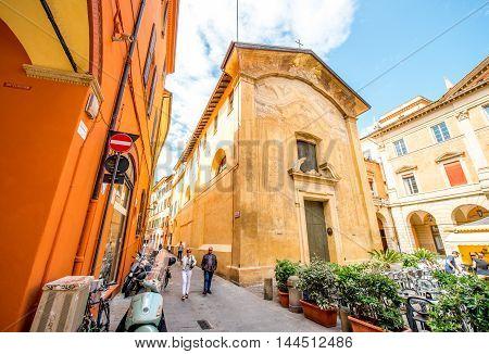 Bologna, Italy - May 24, 2016: Small Donato church on San Biagi square in Bologna old city center