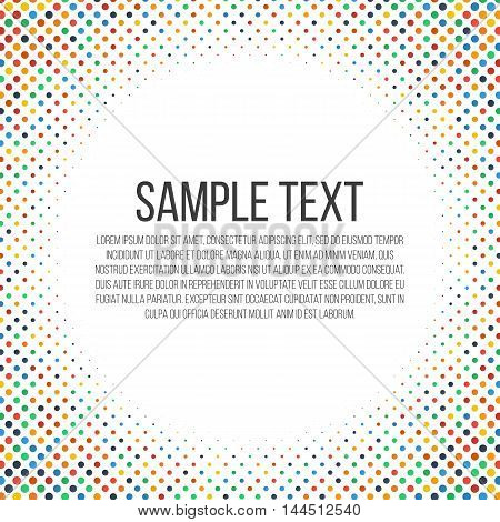 Colorful halftones frame. Place for your text. Vector, eps 10