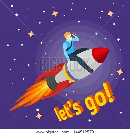 A man flying on a rocket and looks through binoculars. Trendy flat design, businessman riding on a rocket, business concept of moving forward for success