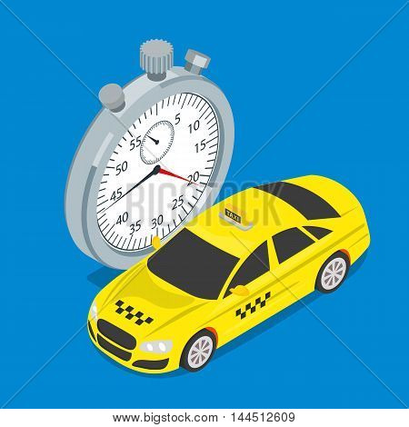 Taxi and stopwatch flat 3d isometric style. Quick taxi service. Vector illustration.