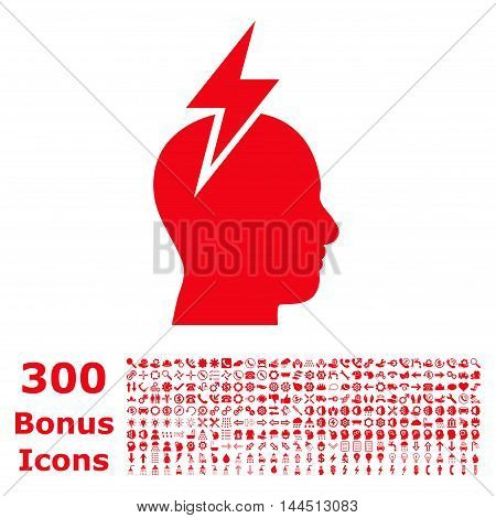 Headache icon with 300 bonus icons. Vector illustration style is flat iconic symbols, red color, white background.