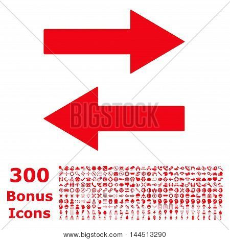 Horizontal Flip Arrows icon with 300 bonus icons. Vector illustration style is flat iconic symbols, red color, white background.