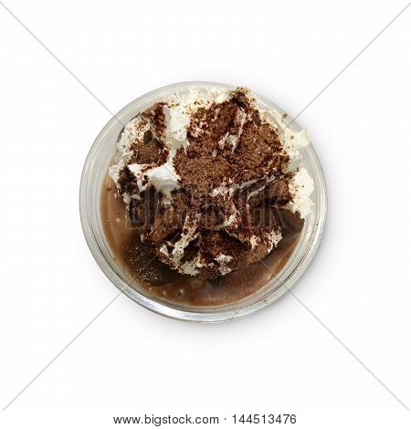 Chocolate smoothies (Cocoa blended) topped with whipped cream and cocoa powder in glass cup on white table.