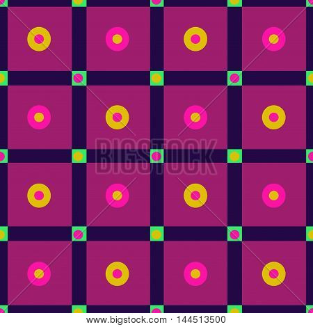Seamless checkered pattern with polka dots in purple green and yellow. 60s retro seamless background. Great for cover design wrapping paper home textile apparel fabric pattern. Vector.