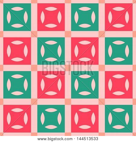 Seamless checkered pattern in coral, green, and red. Festival seamless background. Great for cover design, wrapping paper, home textile, apparel, fabric pattern.  Vector image.