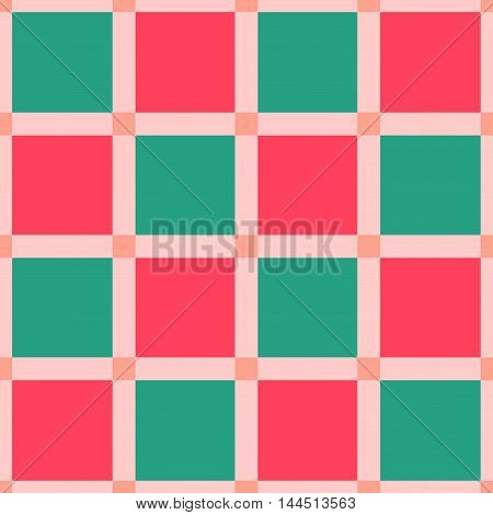 Seamless checkered pattern in coral green and red. Festival seamless background. Mosaic seamless pattern. Great for cover design wrapping paper home textile apparel fabric print. Vector