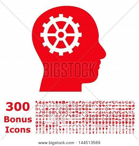 Intellect icon with 300 bonus icons. Vector illustration style is flat iconic symbols, red color, white background.