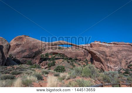 View of the Landscape Arch in Arches National Park, Utah