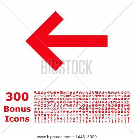 Left Arrow icon with 300 bonus icons. Vector illustration style is flat iconic symbols, red color, white background.