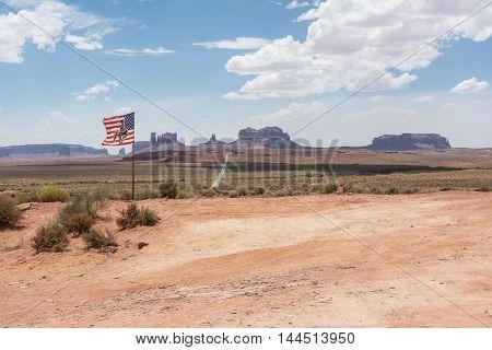 American flag in Monument Valley, Arizona, Utah