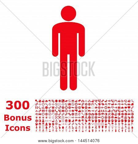 Man icon with 300 bonus icons. Vector illustration style is flat iconic symbols, red color, white background.