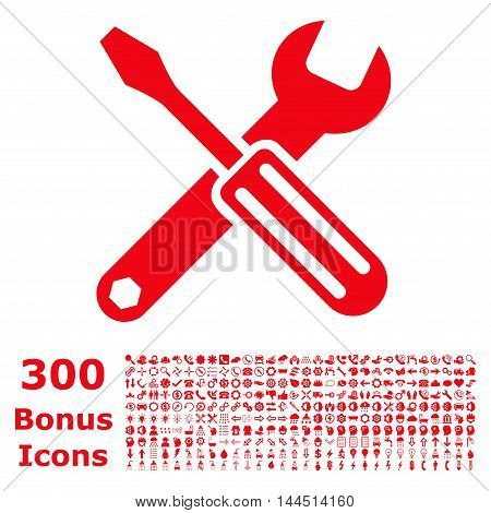 Options icon with 300 bonus icons. Vector illustration style is flat iconic symbols, red color, white background.