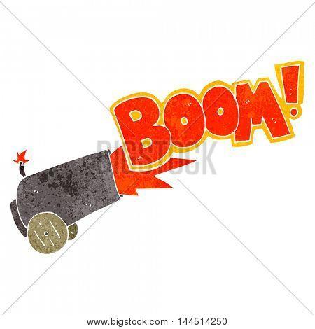 freehand retro cartoon cannon firing