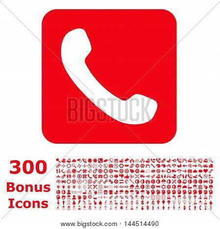 Phone icon with 300 bonus icons. Vector illustration style is flat iconic symbols, red color, white background.
