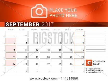 Desk Calendar For 2017 Year. September. Vector Design Print Template. Week Starts Sunday