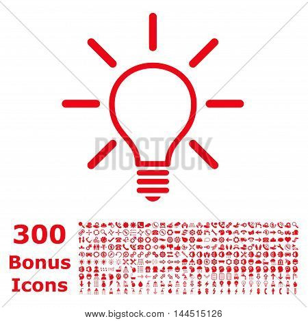 Light Bulb icon with 300 bonus icons. Vector illustration style is flat iconic symbols, red color, white background.