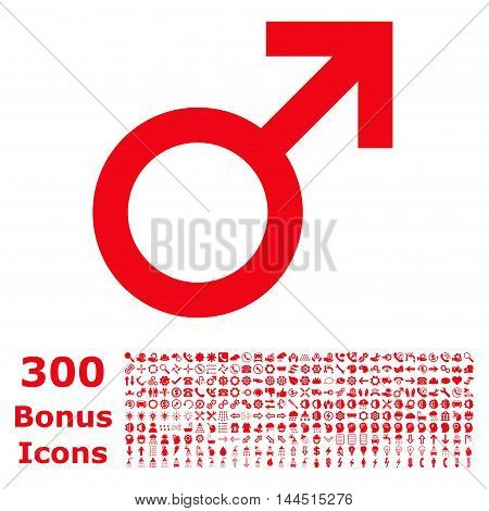 Male Symbol icon with 300 bonus icons. Vector illustration style is flat iconic symbols, red color, white background.