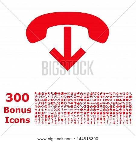 Phone Hang Up icon with 300 bonus icons. Vector illustration style is flat iconic symbols, red color, white background.