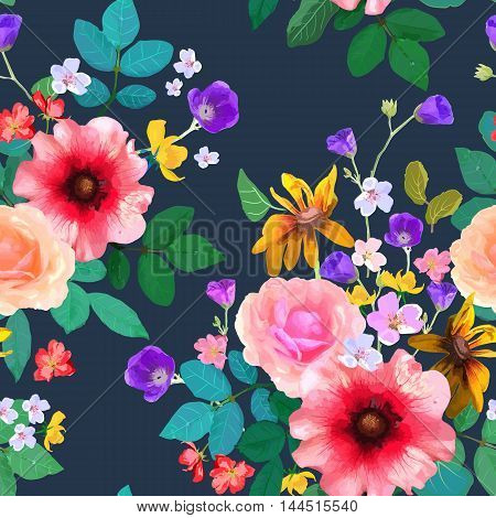 Vector illustration of floral seamless. Hand drawn beautiful colorful flowers on dark blue background.