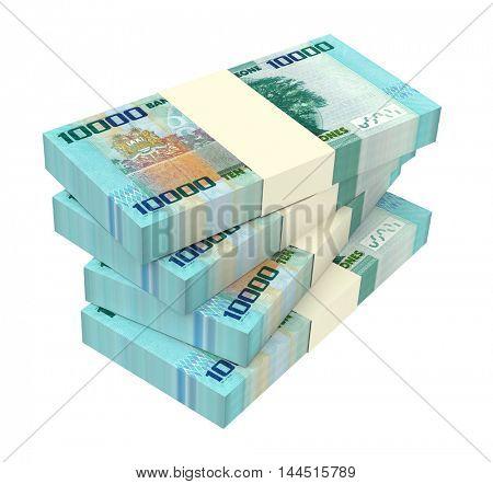 Sierra Leonean leones bills stacks isolated on white background. 3D illustration.