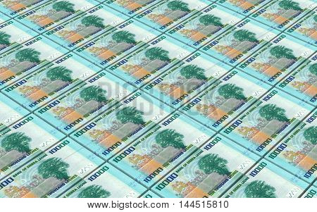 Sierra Leonean leones bills stacks background. 3D illustration.